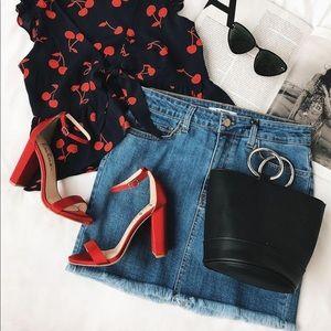 Mini denim jeans women's mid-rise skirt